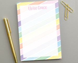 Personalized Kids Watercolor Stripe Notepad