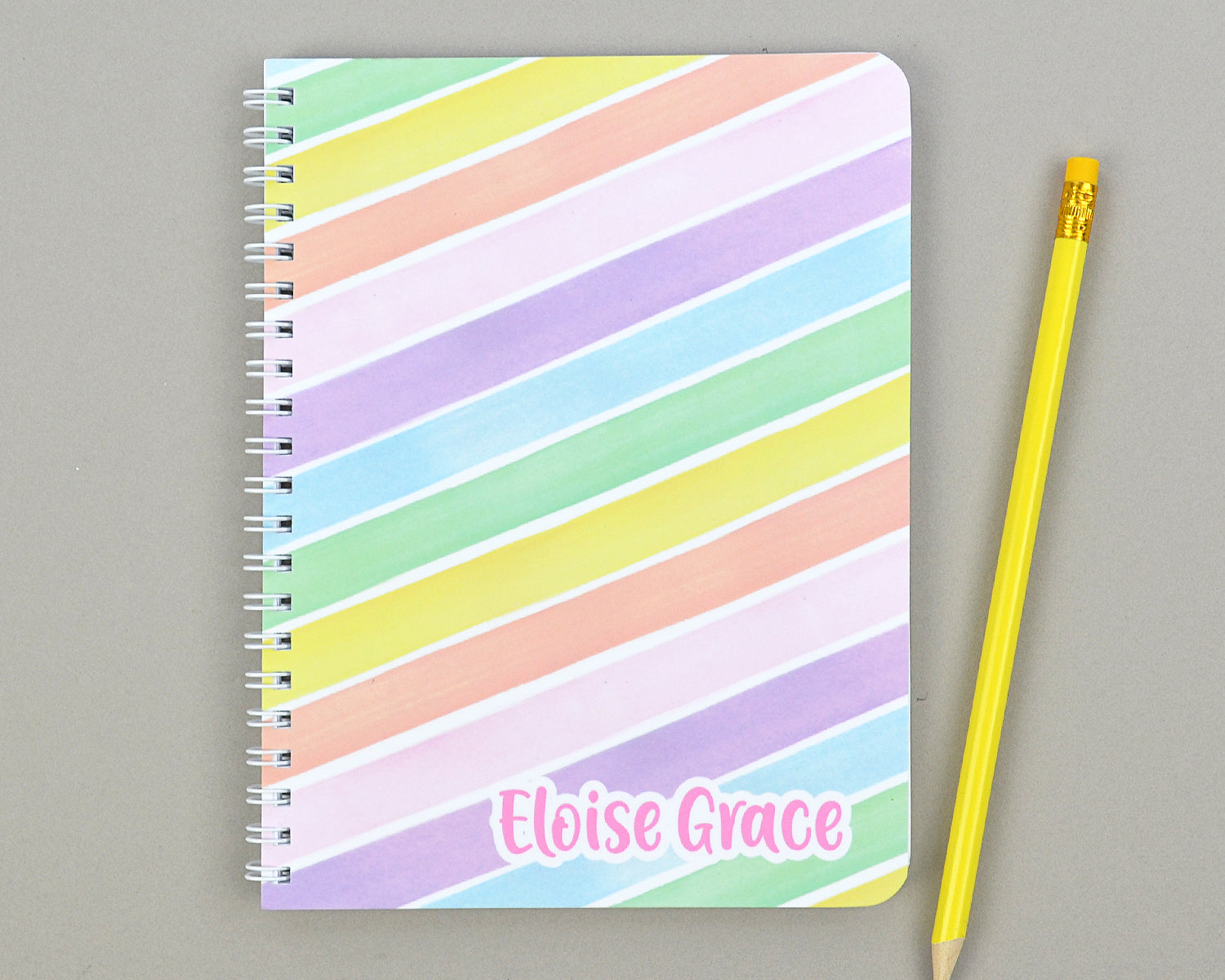 Girls Personalized Rainbow Stripe Lined Notebook for Kids