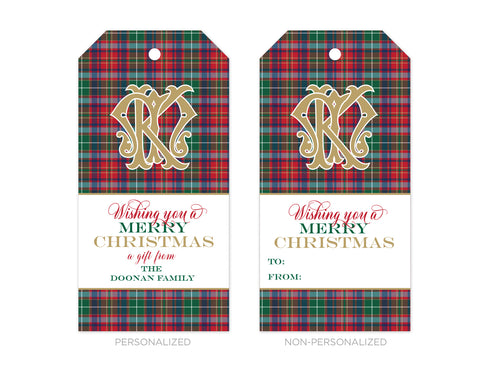 Personalized Tartan Plaid Christmas Gift Tags