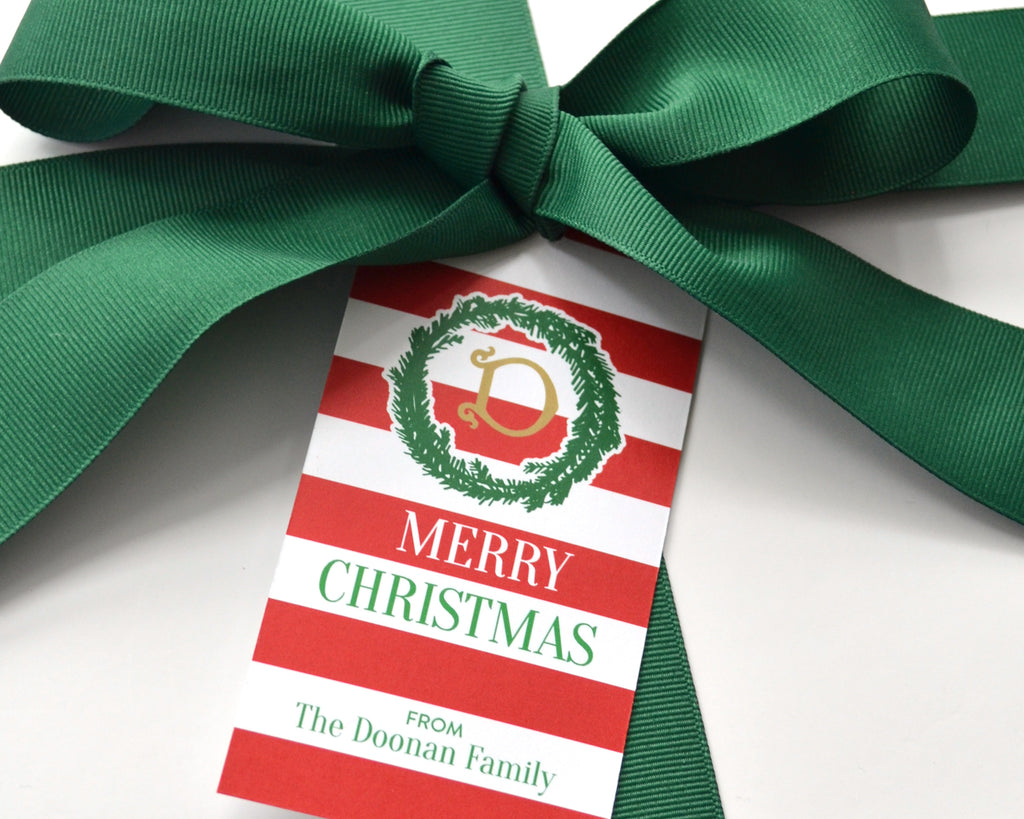 e59c647cf1b1a Personalized Monogrammed Red Stripe Christmas Gift Tags