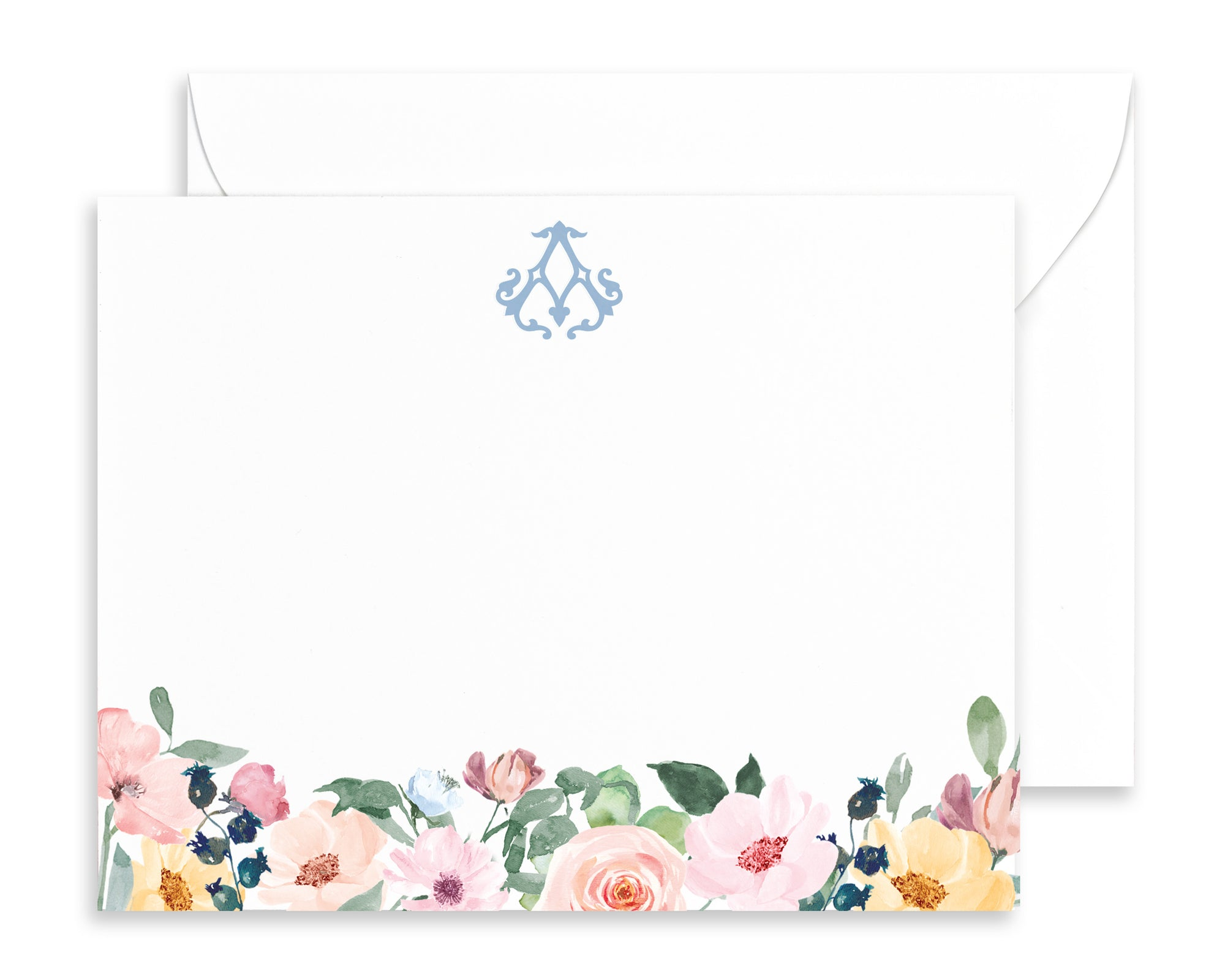 Personalized Monogrammed Watercolor Floral Note Cards