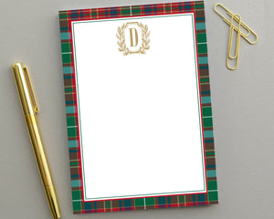 Personalized Monogrammed Notepad Tartan Plaid