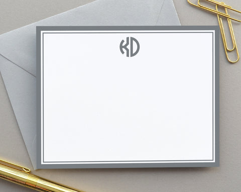 Two Letter Monogrammed Note Cards with Envelopes