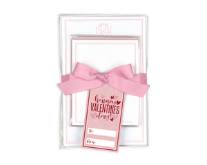 Monogrammed Valentine's or Galentine's Day Gift Stationery Set