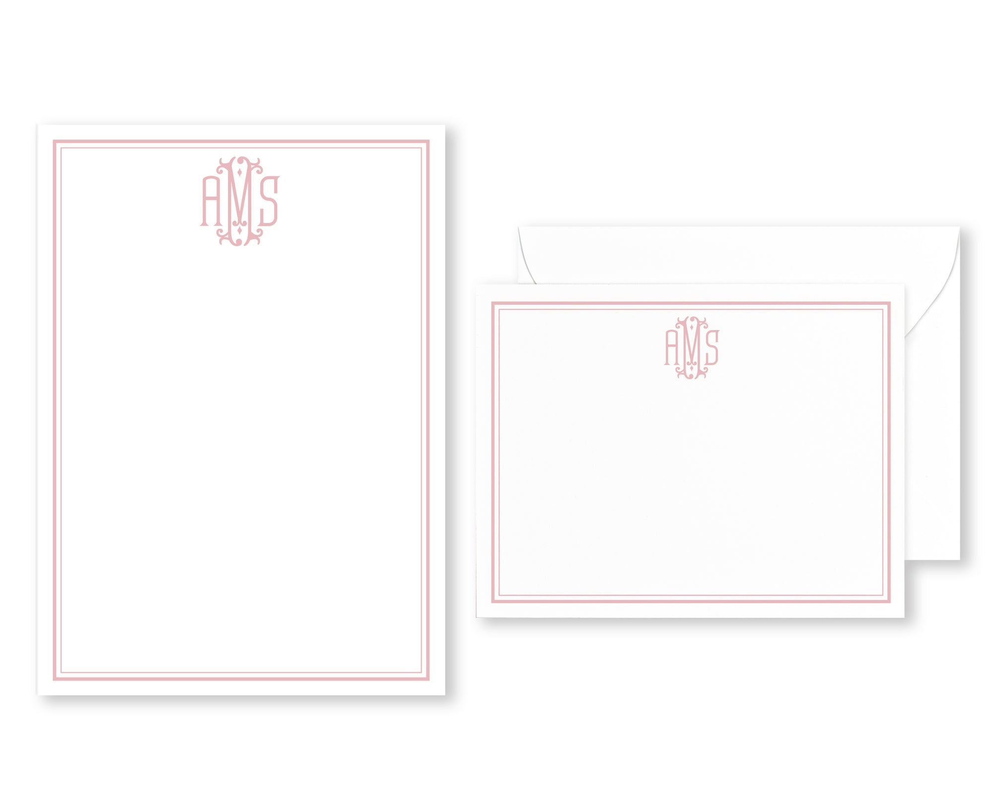Monogrammed Bordered Stationery Set