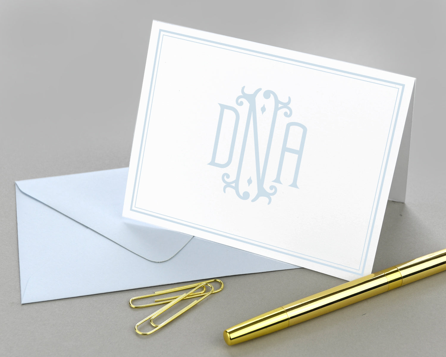 Monogrammed Bordered Folded Note Cards with Envelopes