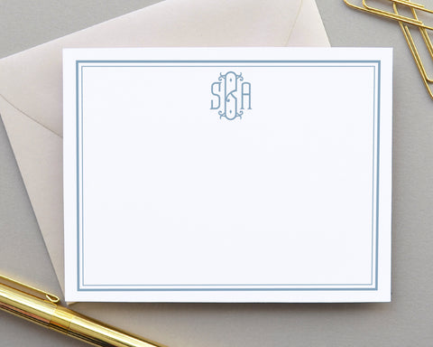 Monogrammed Bordered Note Cards with Envelopes