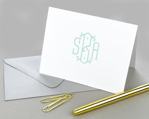 Elegant Monogrammed Folded Note Cards with Envelopes