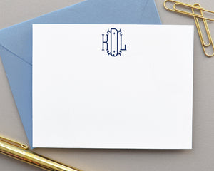 Elegant Monogrammed Note Cards with Envelopes