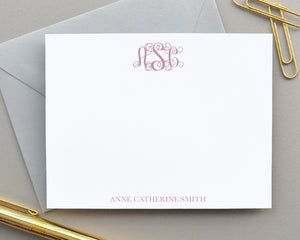 Formal Script Monogrammed Note Cards