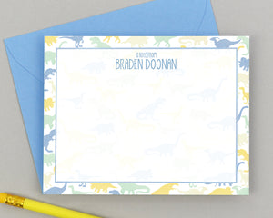 Personalized Dinosaur Note Cards for Kids