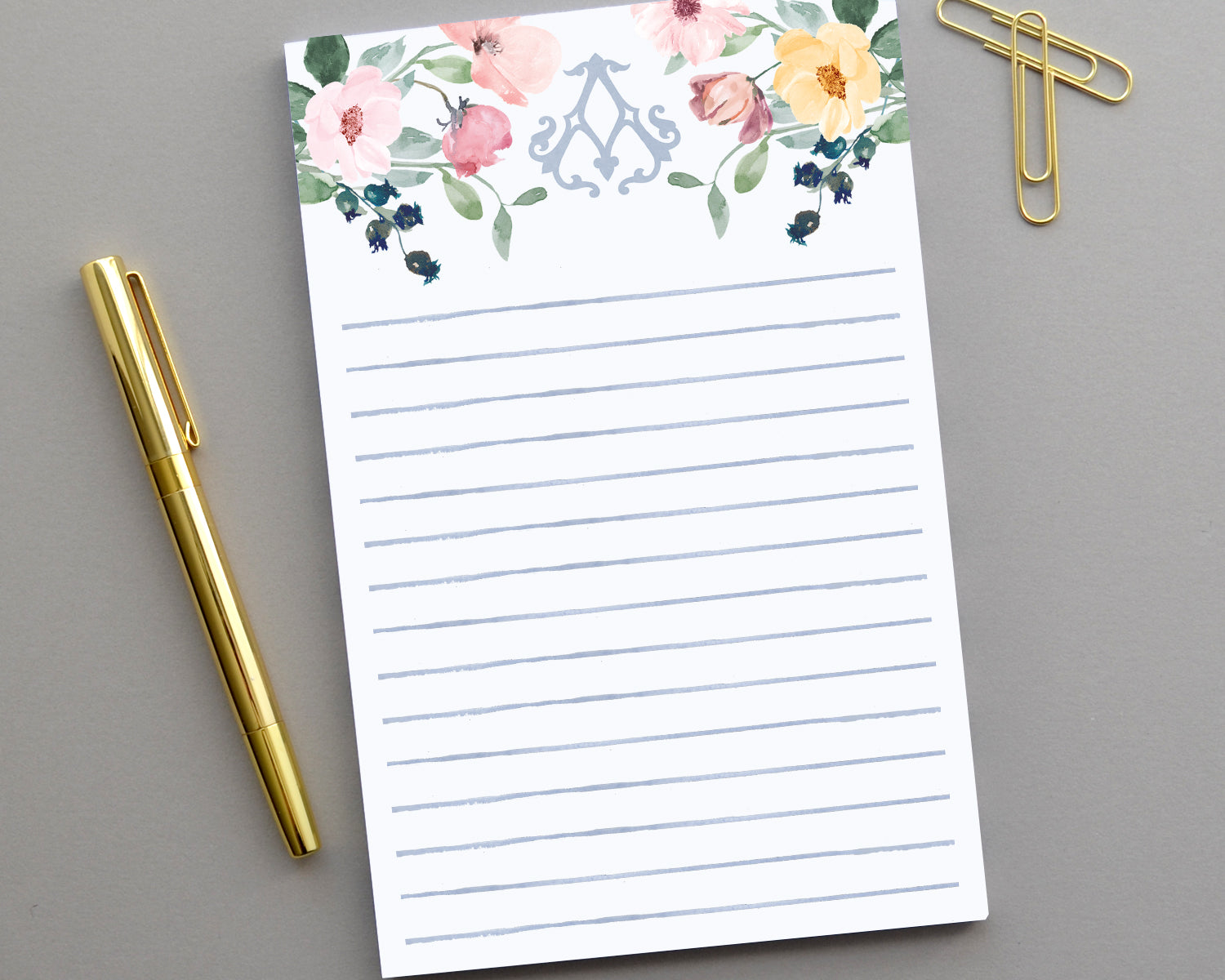 Monogrammed Watercolor Floral Notepad
