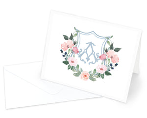 Dusty Blue & Blush Monogrammed Crest Folded Note Cards with Envelopes