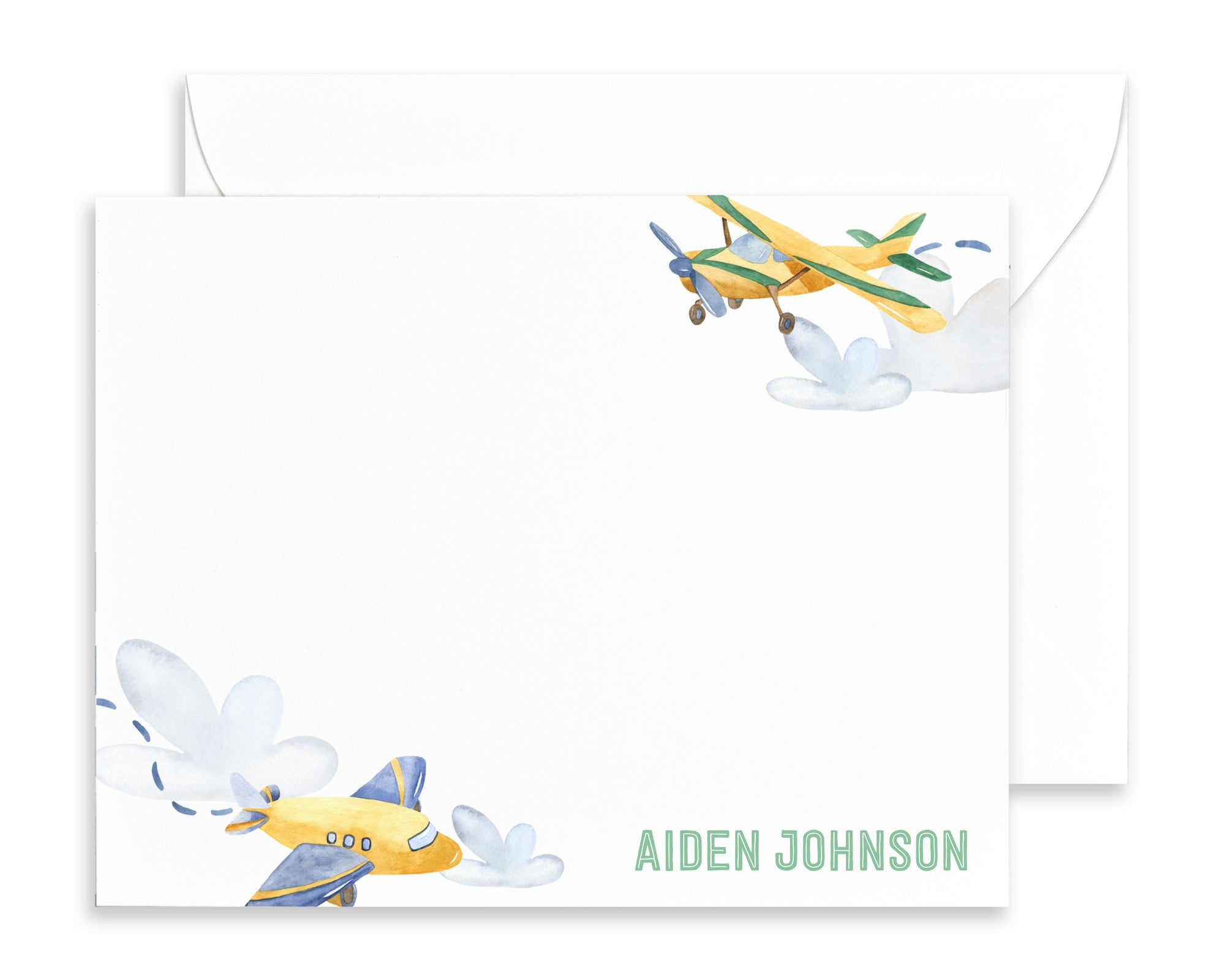 Personalized Airplane Note Cards for Kids