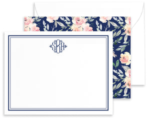 Personalized Bridgette Navy & Blush Watercolor Floral Note Cards