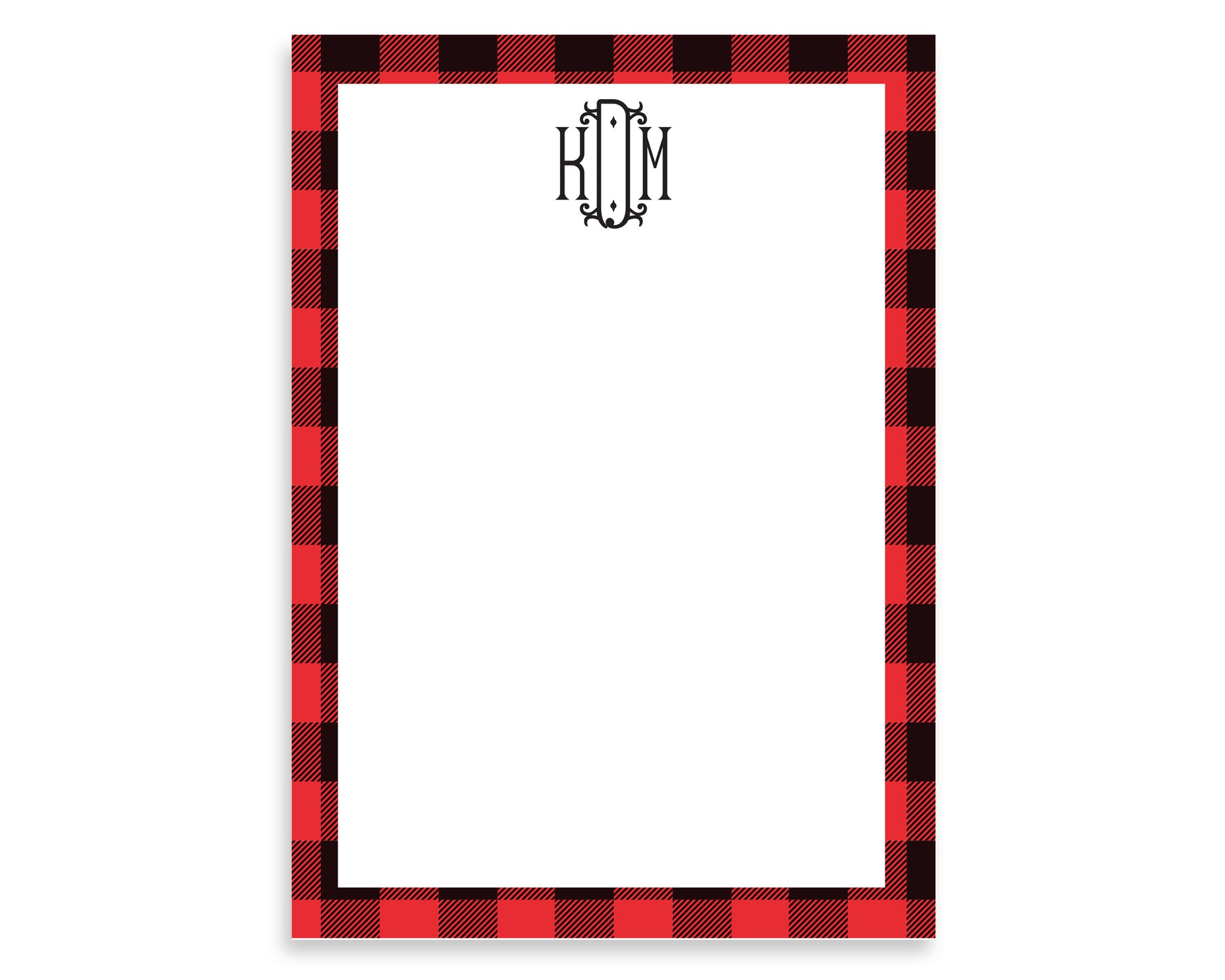 Personalized Buffalo Plaid Monogrammed Notepad