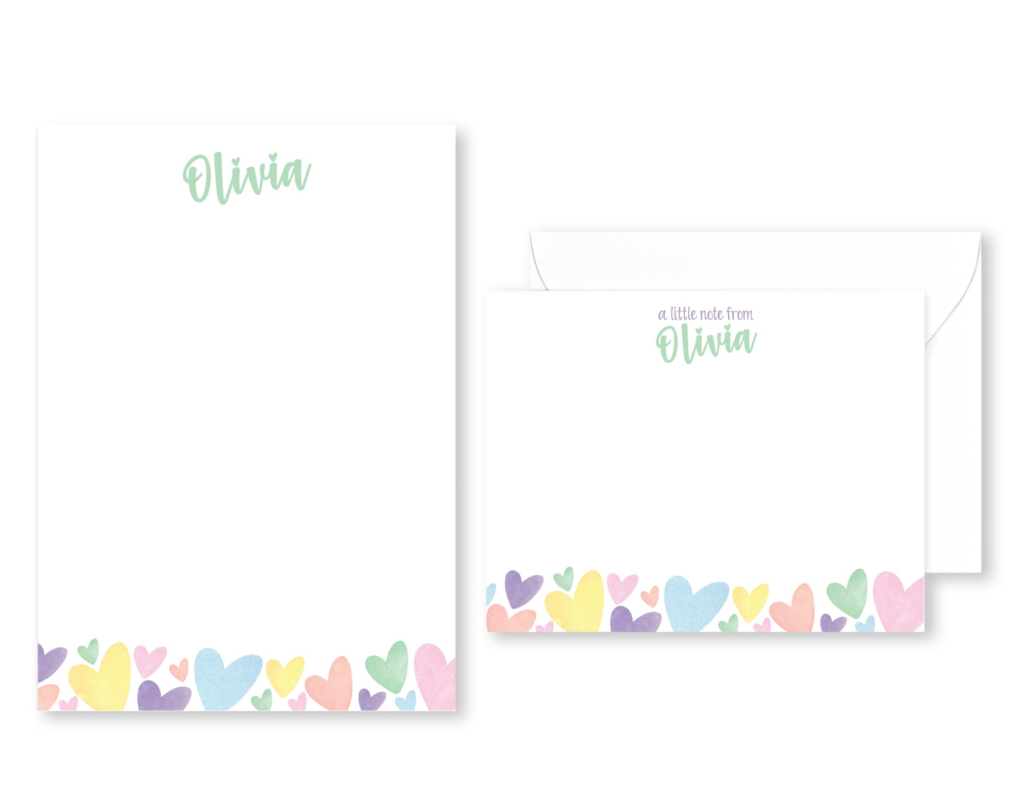 Personalized Rainbow Heart Stationery Set for Kids