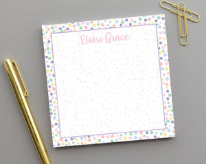 Personalized Kids Multicolor Dot Notepad