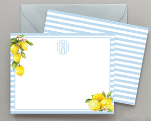 Personalized Lemon Watercolor Stripe Note Cards