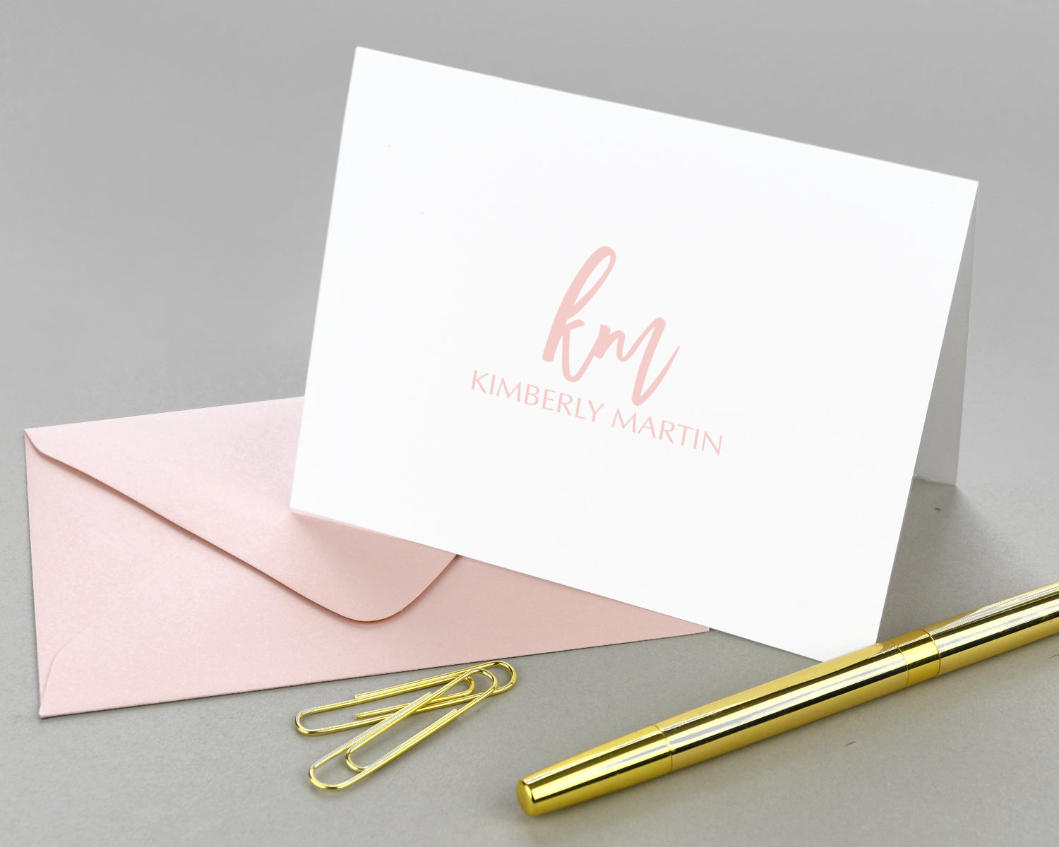 Modern Script Monogram Folded Note Cards