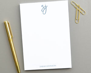Modern Script Monogrammed Notepad, Personalized Notepad