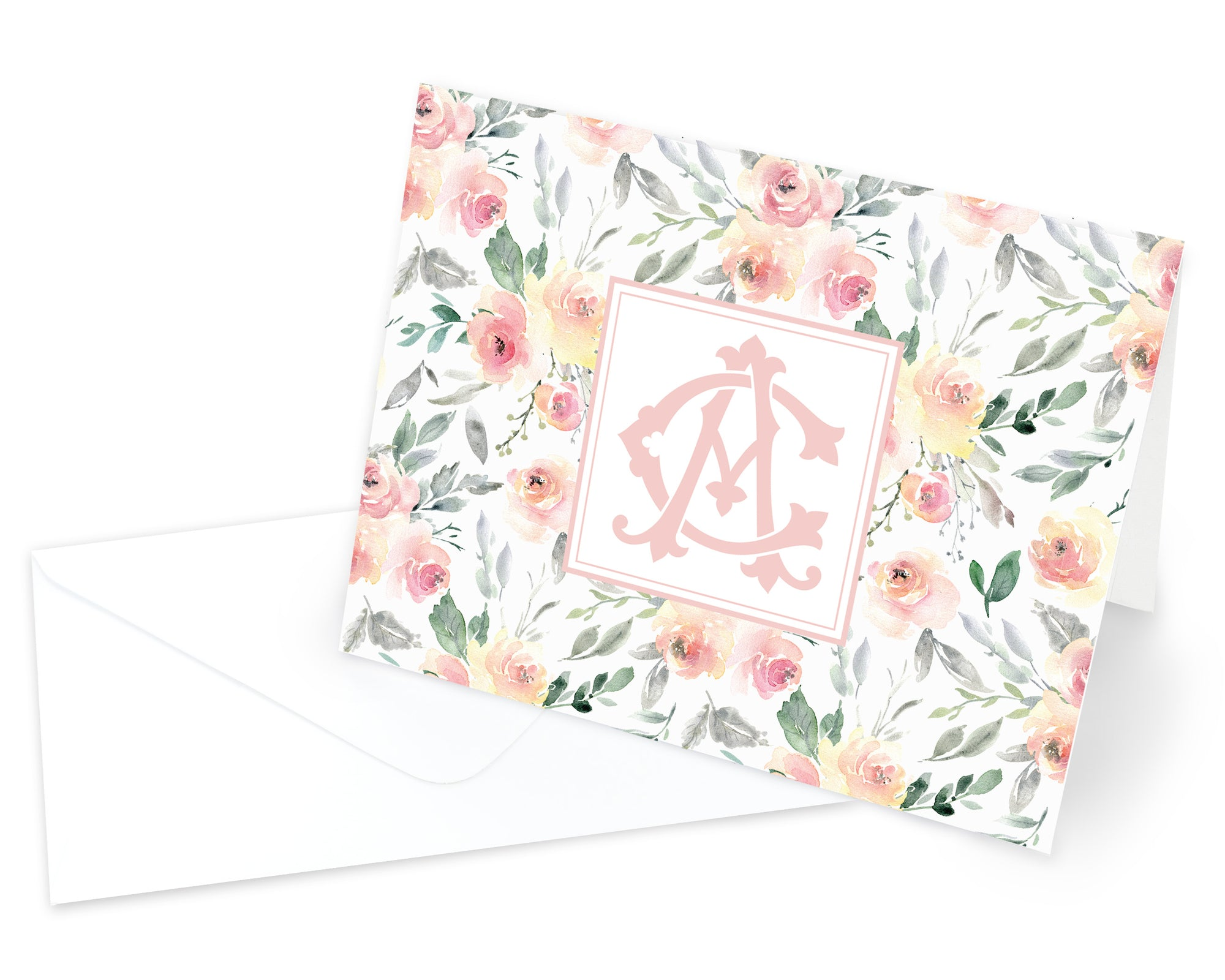 Blush Monogrammed Floral Folded Note Cards