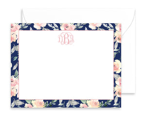 Personalized Navy & Blush Floral Note Cards
