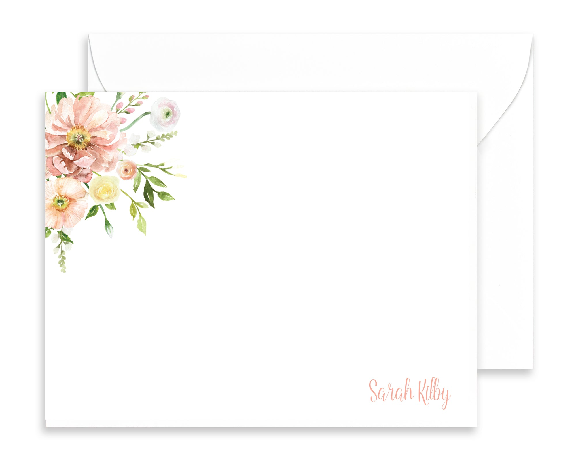 Personalized Ranunculus Watercolor Floral Note Cards