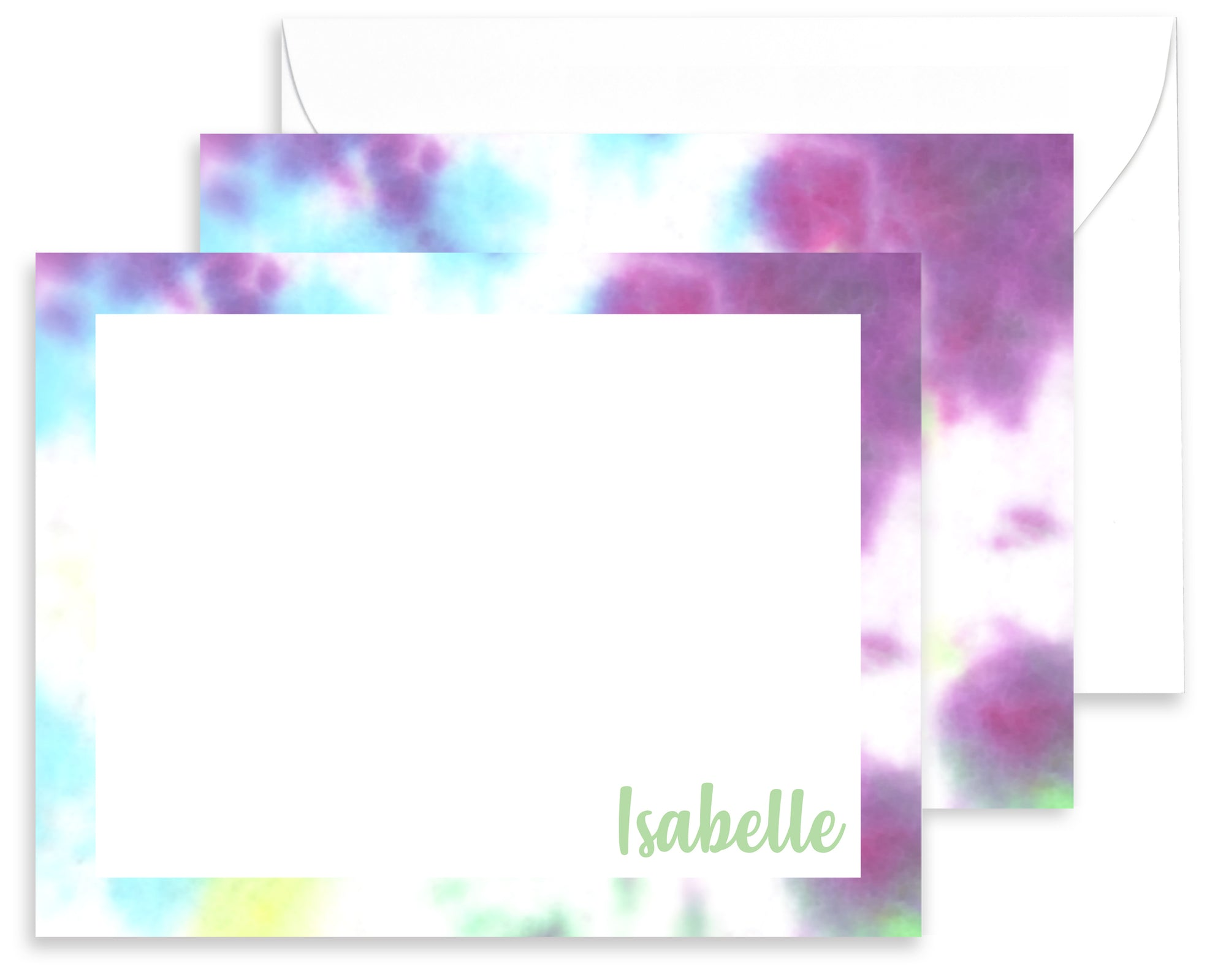 Personalized Purple, Blue & Green Tie Dyed Stationery for Kids