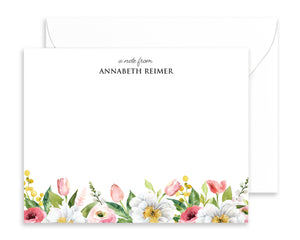 Personalized Spring Watercolor Floral Note Cards