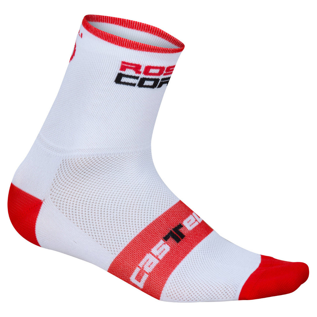 Castelli Mens Rosso Corsa 9 Socks - White / Red