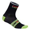 Castelli Mens Rosso Corsa 9 Socks - Black / Lime Green