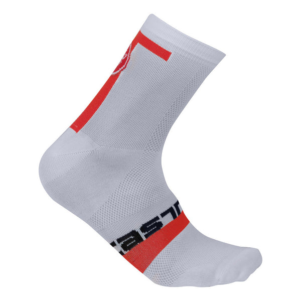 Castelli Mens Meta 9cm Socks - White Red