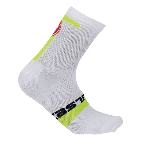 Castelli Mens Meta 9cm Socks - White Yellow