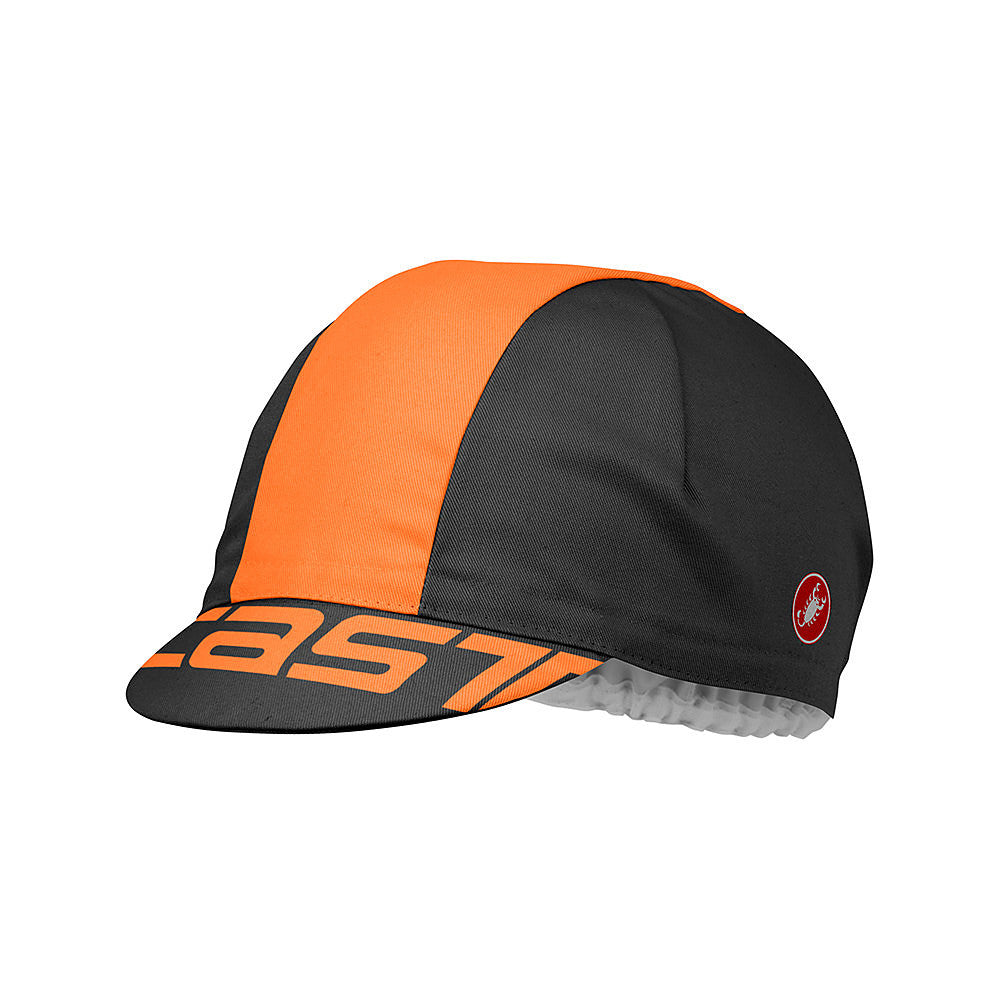 Castelli A Bloc Cotton Cycling Cap - Orange / Black