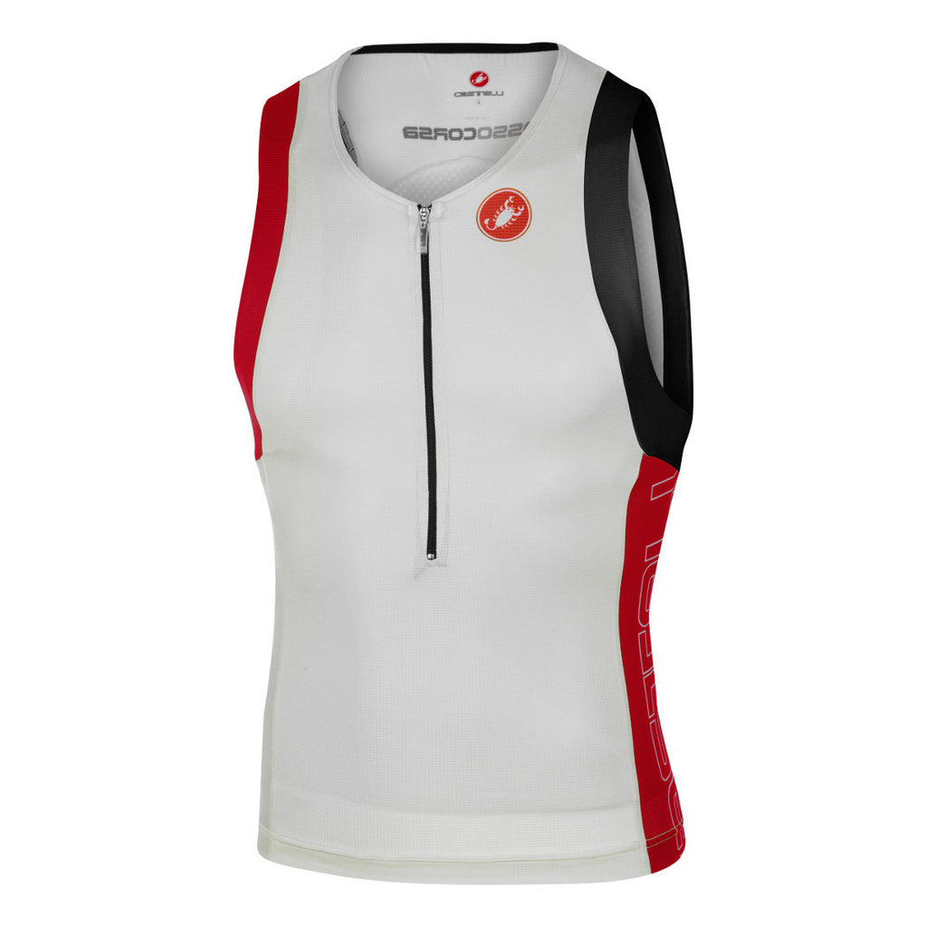 Castelli Mens Free Tri Top - White/Red