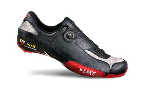 Lake Mens CX401 Road Cycling Shoes - Black/Red