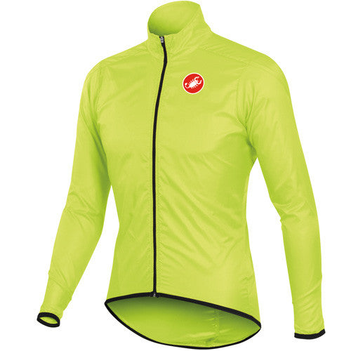 Castelli Mens Squadra Long Rain Jacket - Fluro Yellow