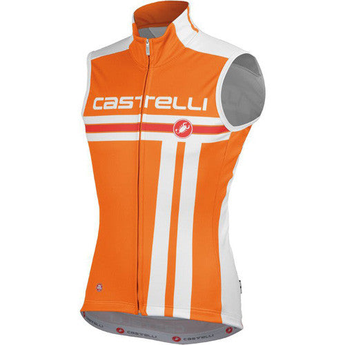 Castelli Mens Free Windstopper Vest - Orange/White