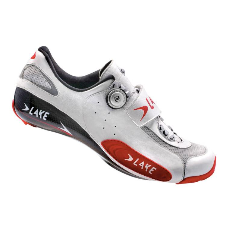 Lake Mens CX401 Road Cycling Shoes - White/Red