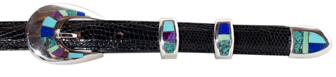 "Supersmith Sugulite, Lapis & Turquoise 3/4"" Inlaid Ranger Belt Buckle"