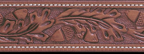 Russet Acorn Hand Tooled Leather Belt Strap