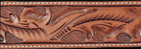 Russet Running Oak Leaf Hand Tooled Leather Belt