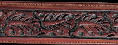 Saddle Brown Skived Leaf Hand Tooled Leather Belt Strap