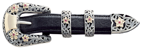 "Vogt Silversmiths 1"" Chet Vogt Wildflower Belt Buckle"