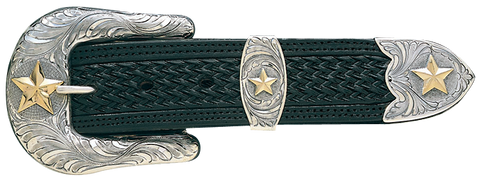 "Vogt Silversmiths 1 1/2"" Pecos Gold Star Buckle"