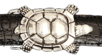 "Alexander Kalifano Sterling Silver 1"" Turtle Belt Buckle"