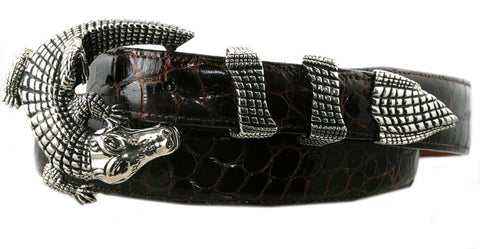 "Alexander Kalifano White Bronze 1"" Crocodile Belt Buckle"
