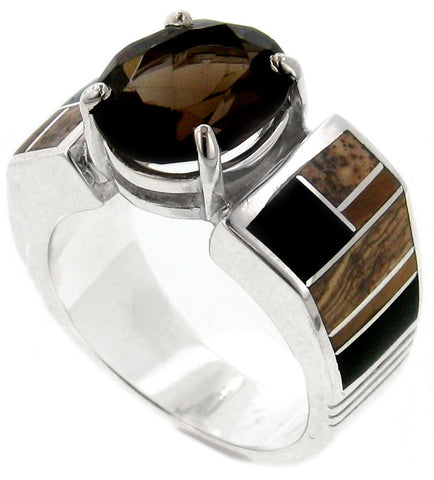 David Rosales Native Earth Inlaid Sterling Silver Ring