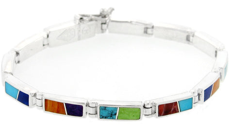 David Rosales Albuquerque Flat Inlaid Sterling Silver Link Bracelet